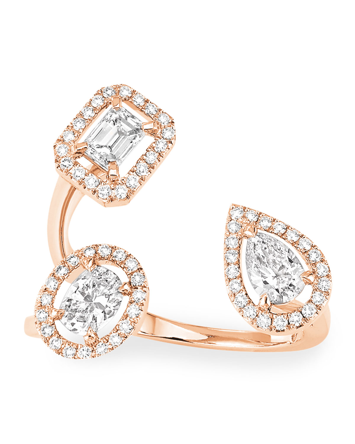 My Twin Trilogy Ring in 18k Rose Gold and Diamonds