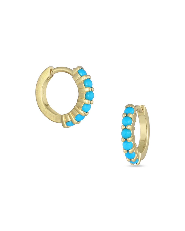 18k Gold Sleeping Beauty Turquoise Hinged Huggie Hoop Earrings