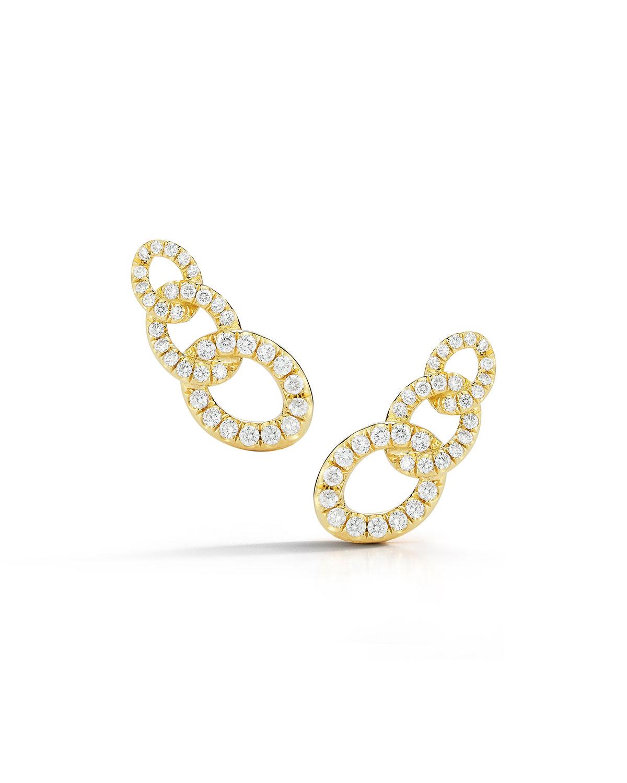 18k Yellow Gold Diamond Curb-Link Earrings