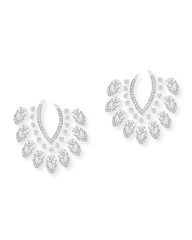 Desert Bloom 18k White Gold Diamond Earrings