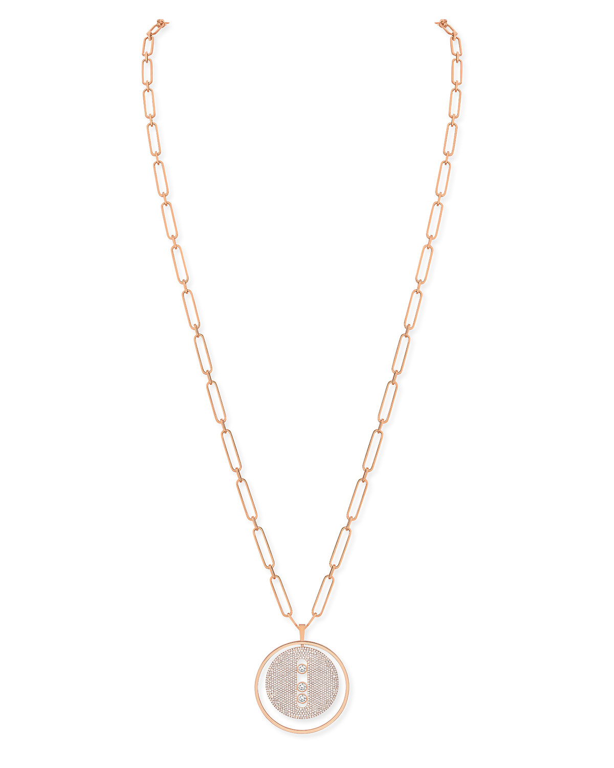 Lucky Move 18k Rose Gold Full Pave Necklace