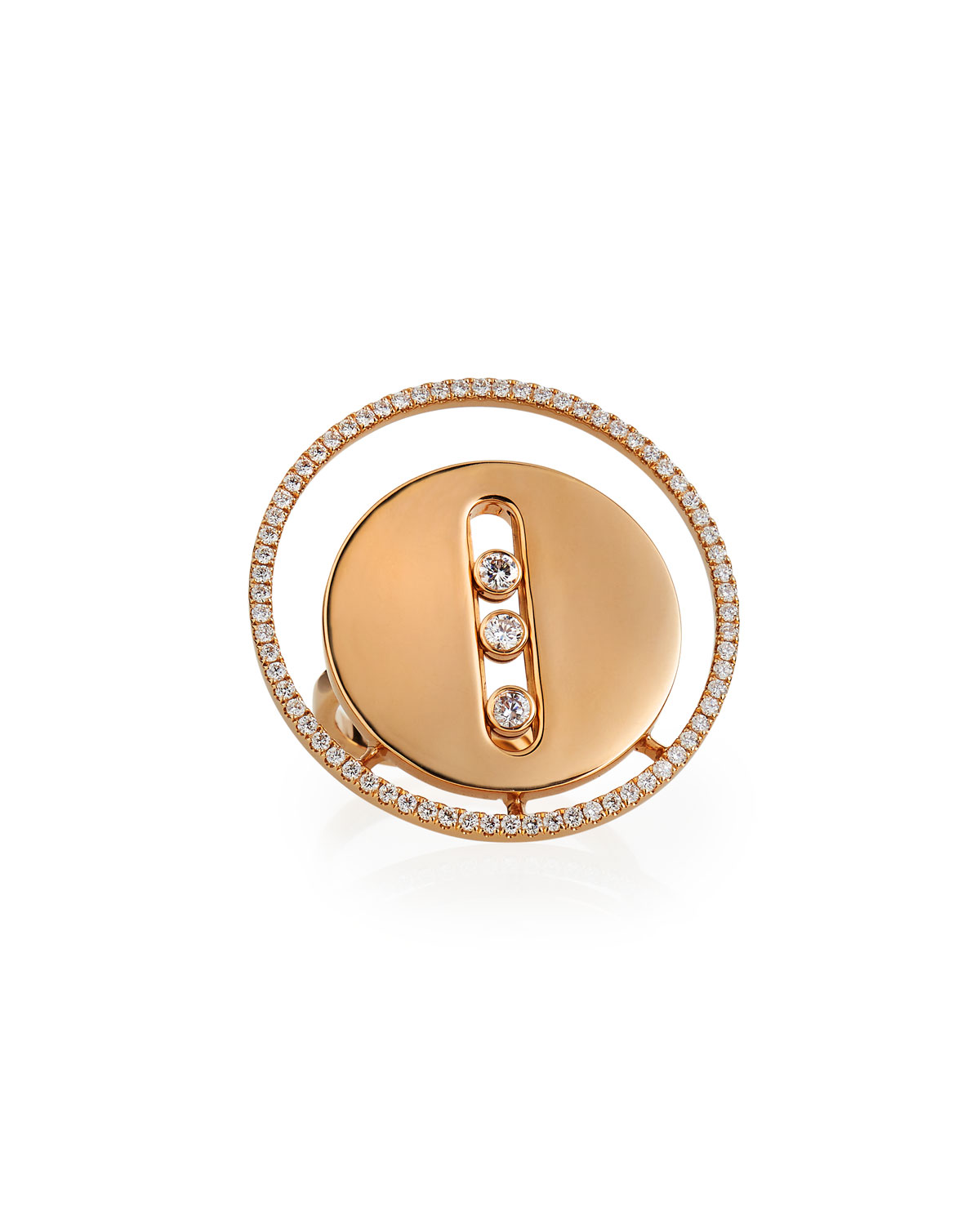 Lucky Move 18k Pink Gold 3-Diamond Ring