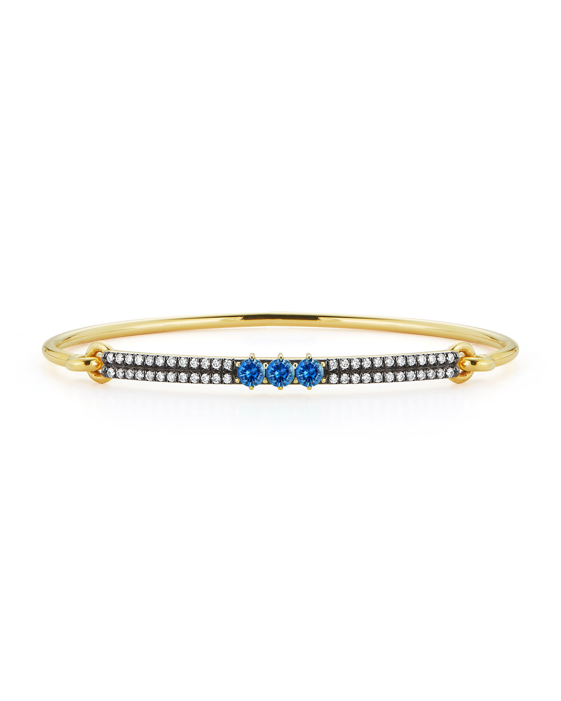 Prive 18k Yellow Gold Blue Sapphire and Diamond Bangle
