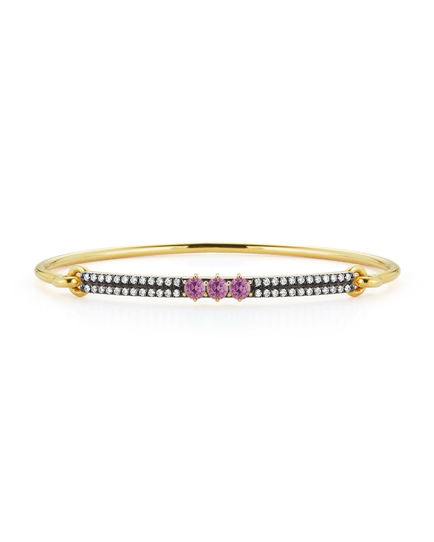Prive 18k Yellow Gold Pink Sapphire and Diamond Bangle