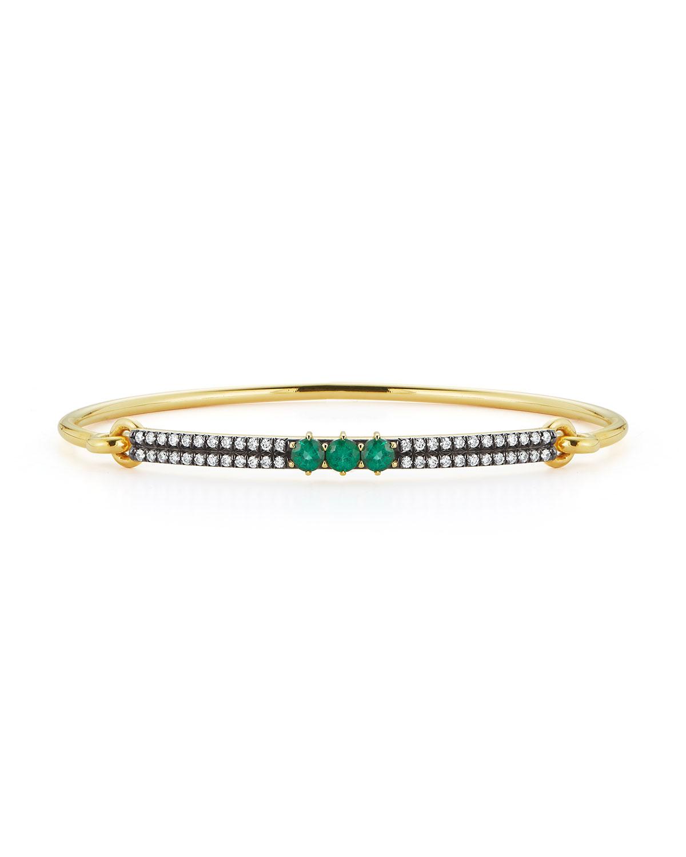Prive 18k Yellow Gold Emerald and Diamond Bangle