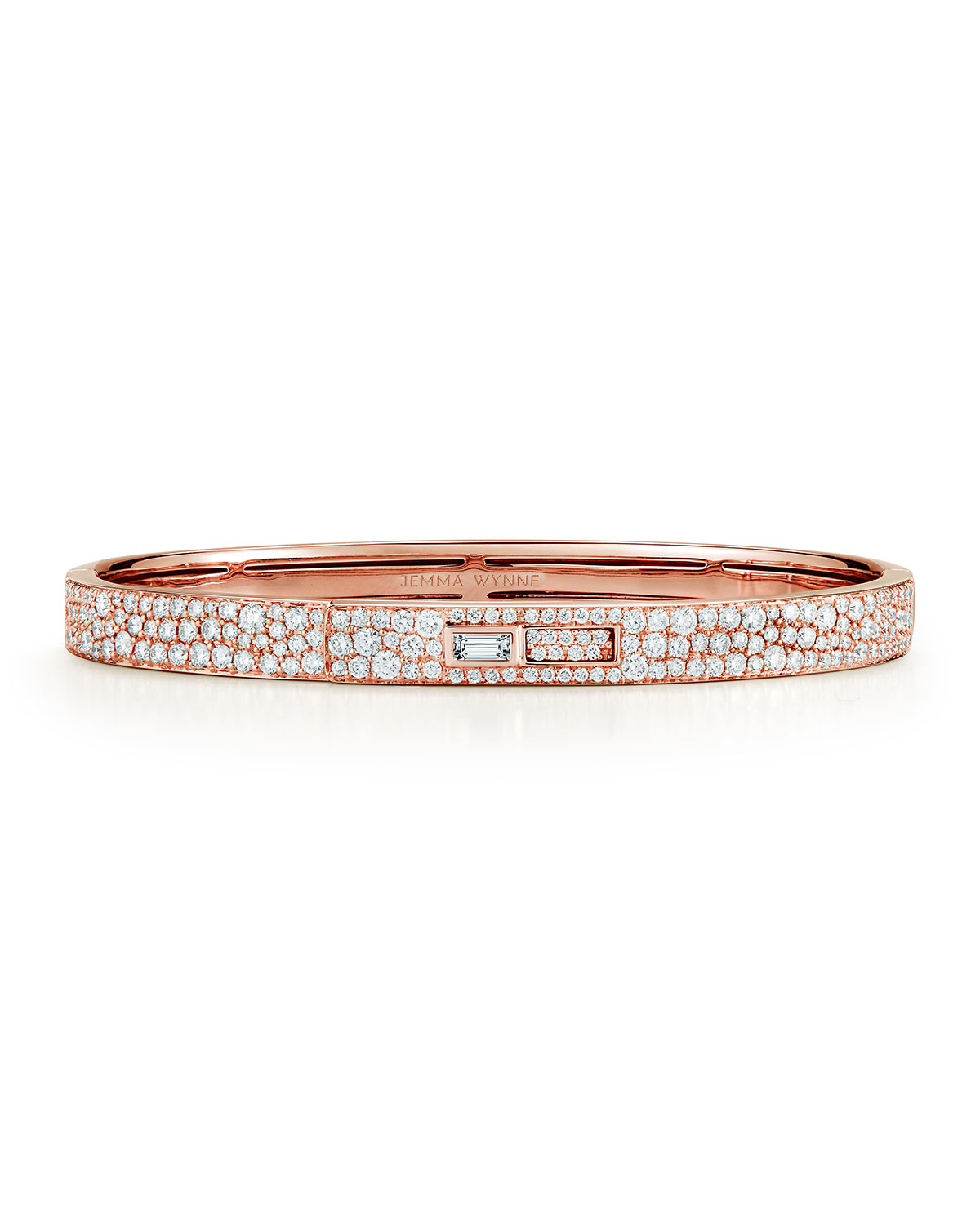 Prive Luxe 18k Rose Gold Pave Diamond Keyhole Cuff