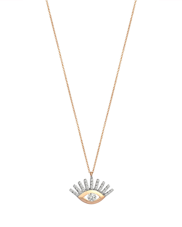 14k Rose Gold Large Evil Eye White Diamond Necklace