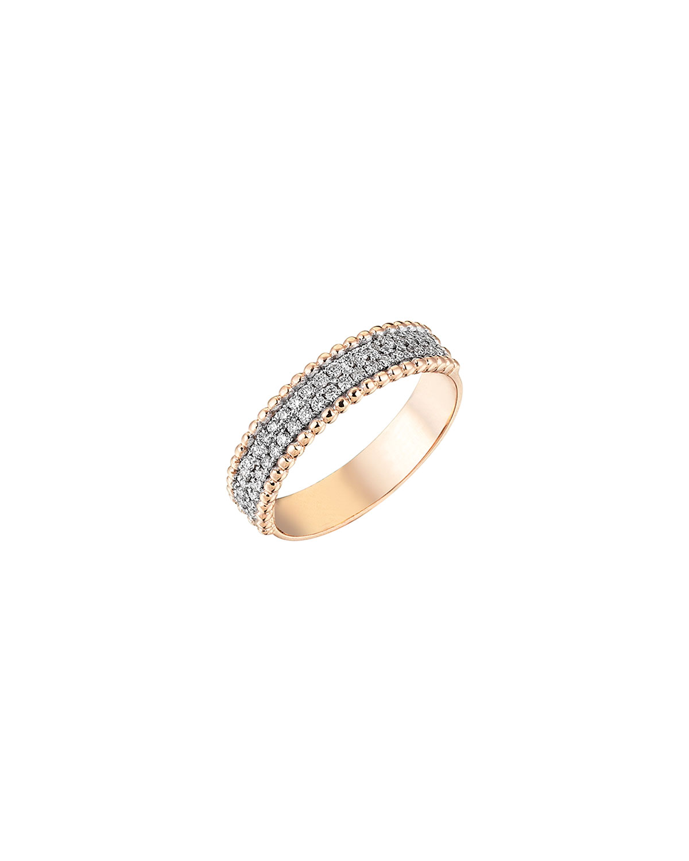 14k Rose Gold Two-Row Diamond Half Eternity Band Ring