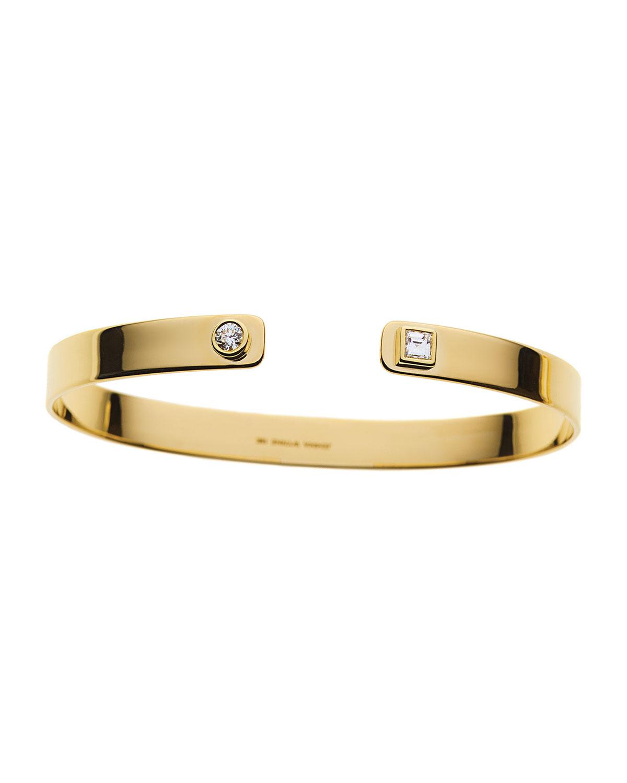 Prive 18k Yellow Gold Diamond Open Cuff Bracelet