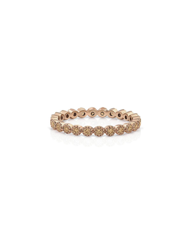 18k Rose Gold Champagne Diamond Milgrain Stack Ring