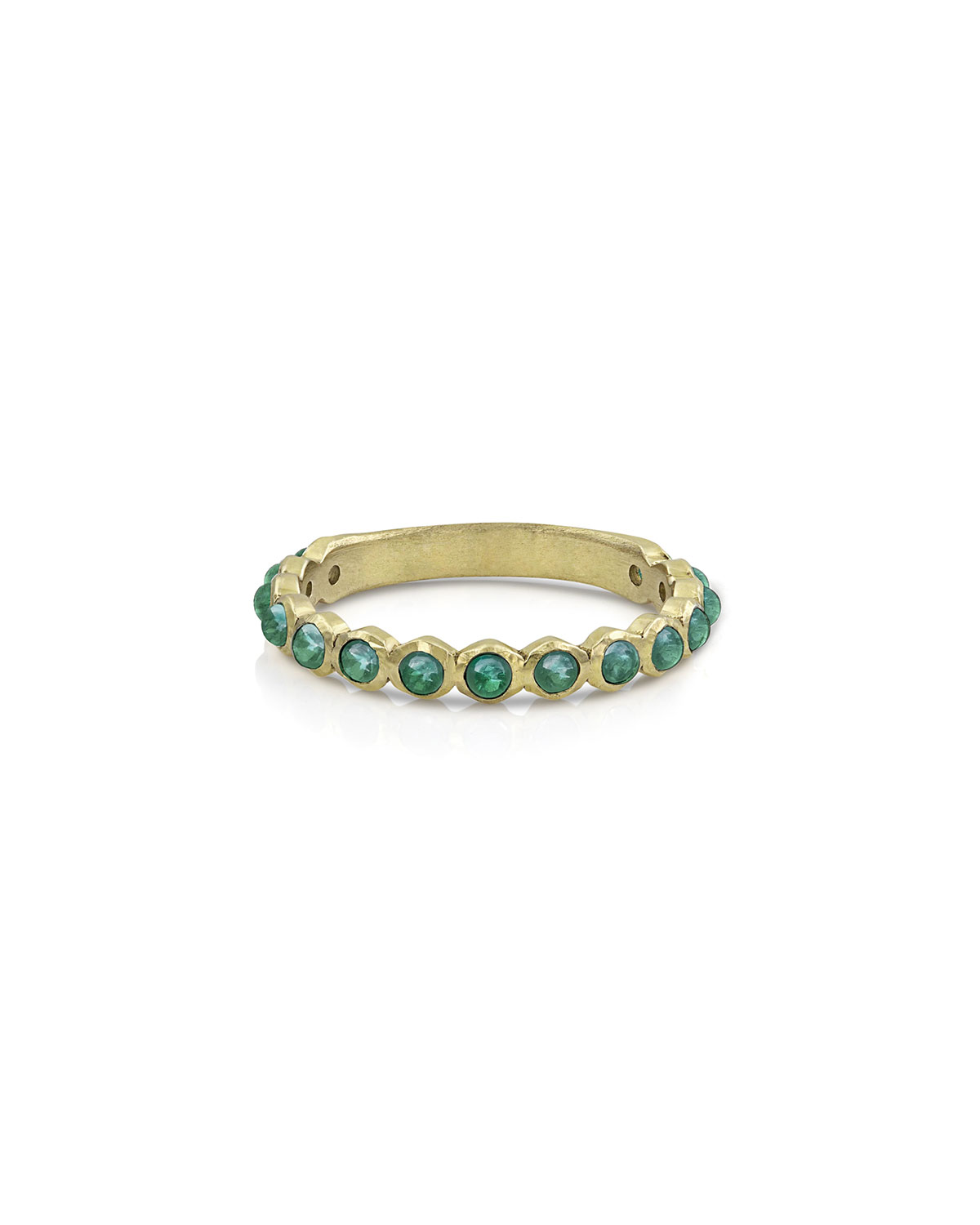18k Gold Emerald Cabochon Stack Ring