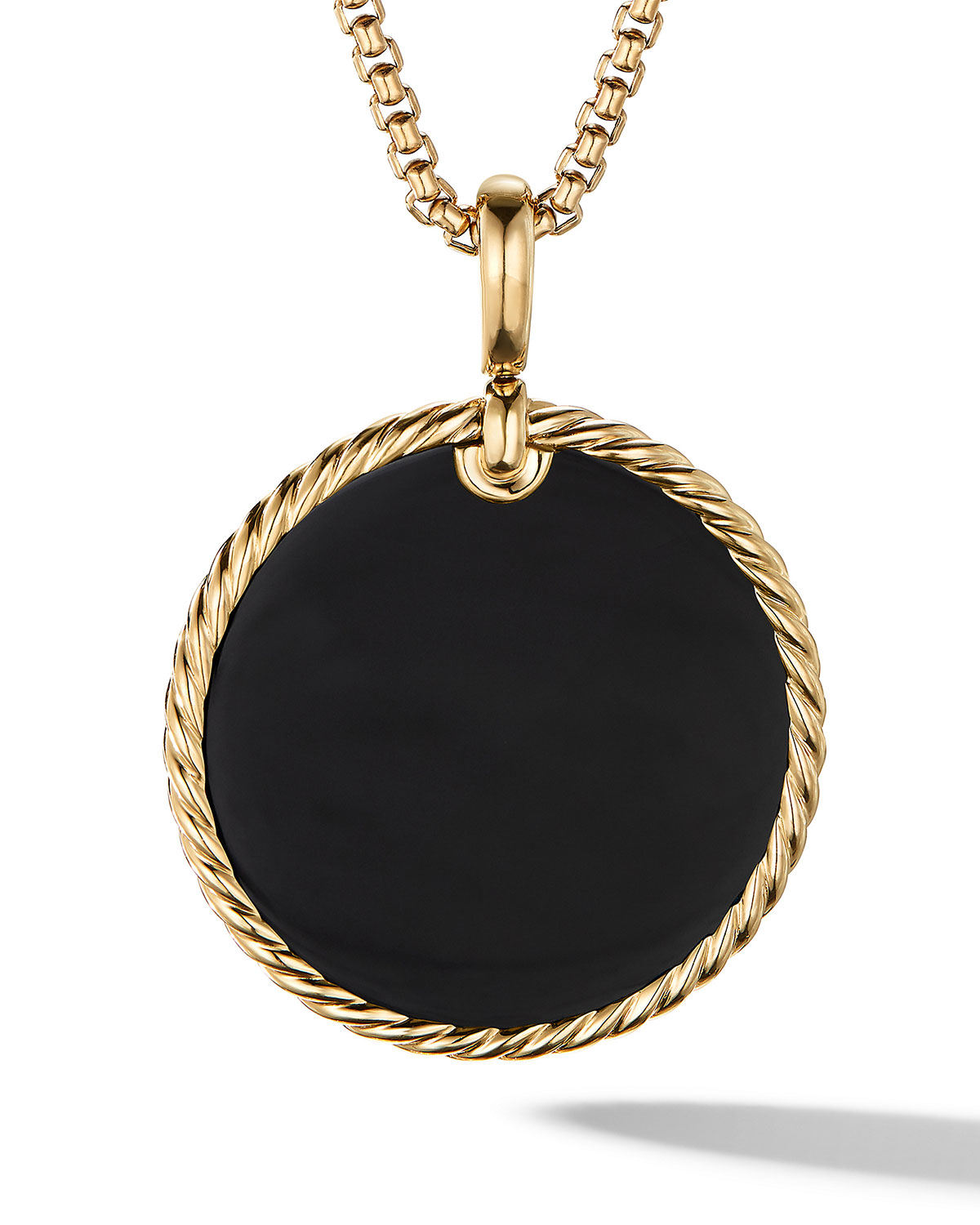 David Yurman Dy Elements Cable Disc Pendant In 18k Yellow Gold With Black Onyx & Mother-of-pearl