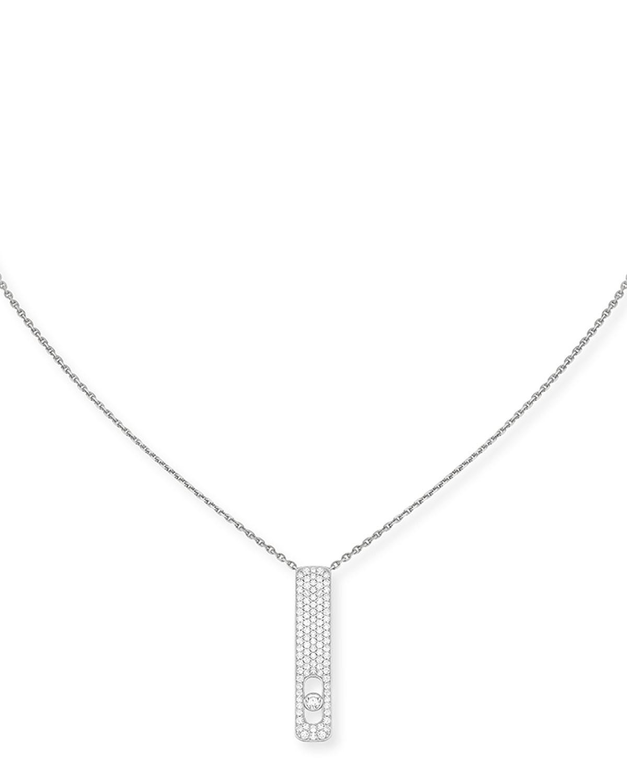My First Diamond 18k White Gold Pave Necklace