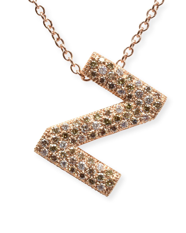 "Via Mantegna 18k Rose Gold Diamond Letter ""Z"" Pendant Necklace"
