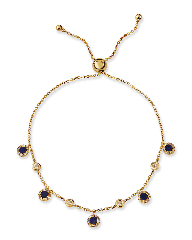 Siren 14k Yellow Gold Lapis Disc and Diamond Bracelet