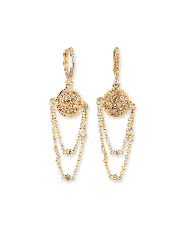 Cosmos Planet 14k Chain Earrings