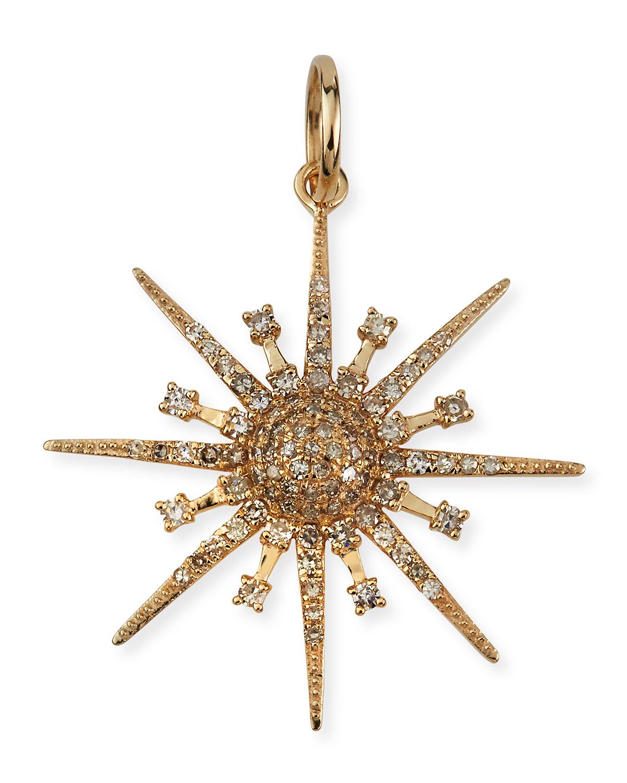 Celestial Starburst 14k Yellow Gold Diamond Pendant
