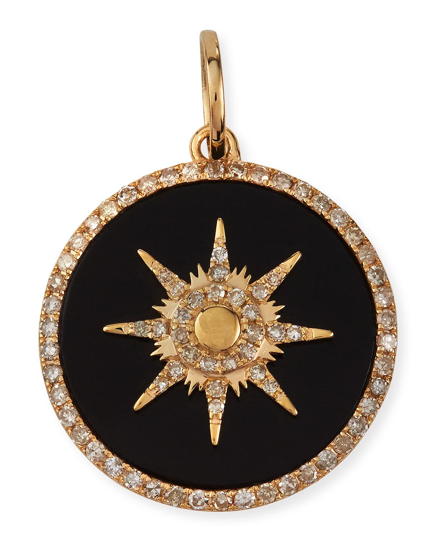 Onyx Starburst Pave Diamond Pendant