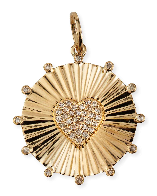 14k Yellow Gold Textured Heart Pendant