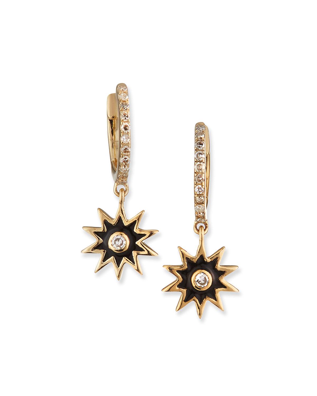 Celestial Black Enamel Star Earrings