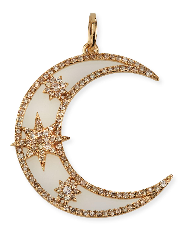 Celestial Star Moon 14k Diamond Pendant