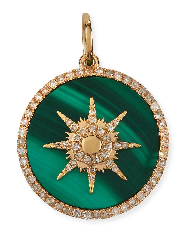 Malachite Starburst Pave Diamond Pendant