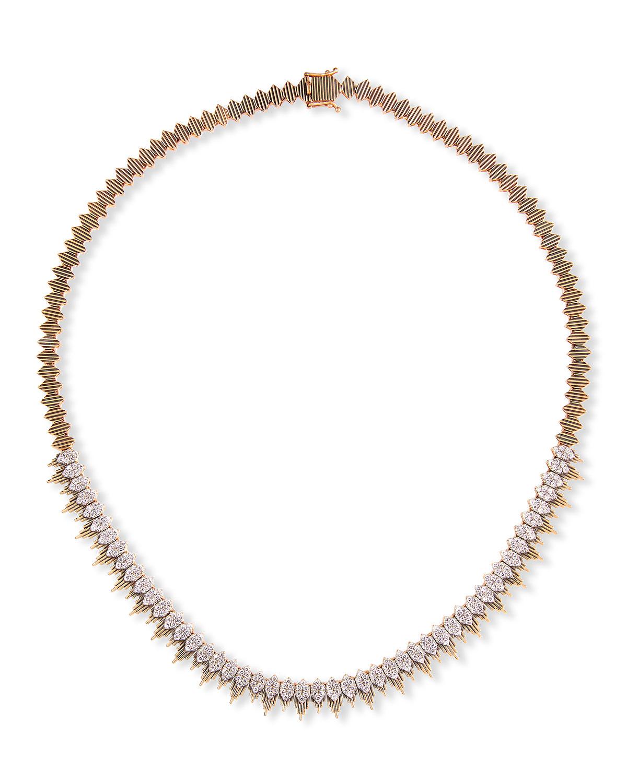 14k Rose Gold Diamond Balcony Necklace