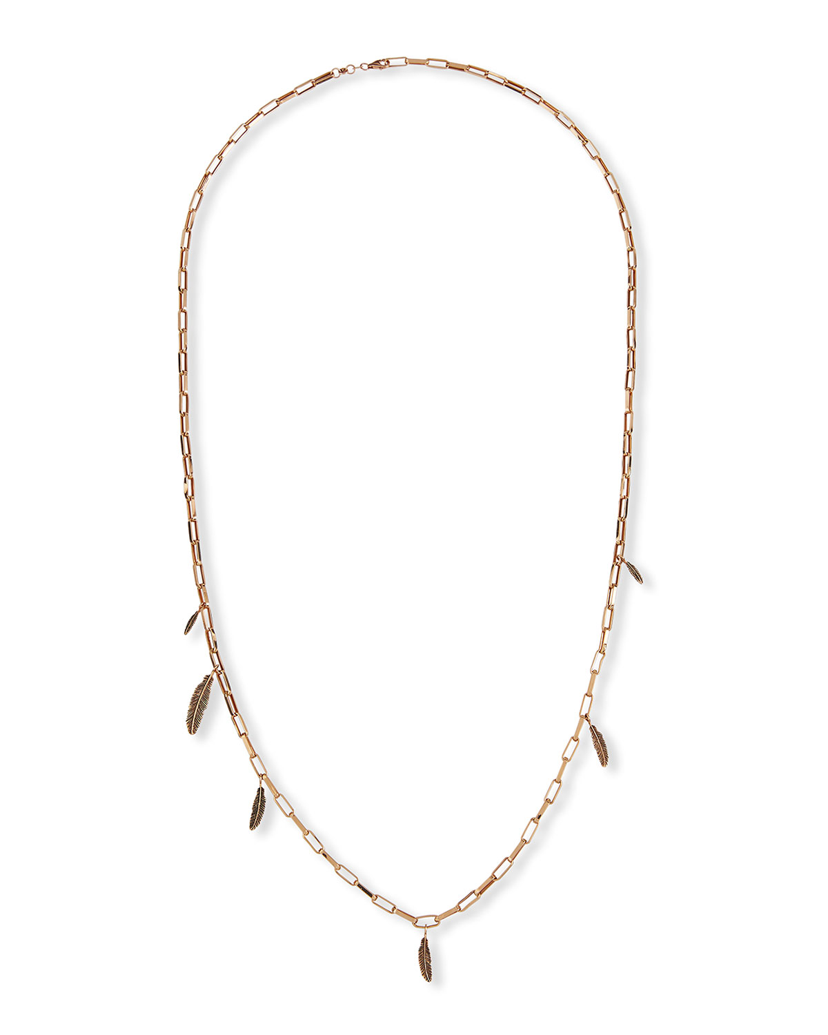 14k Asymmetrical 6-Feather Rectangle Chain Necklace