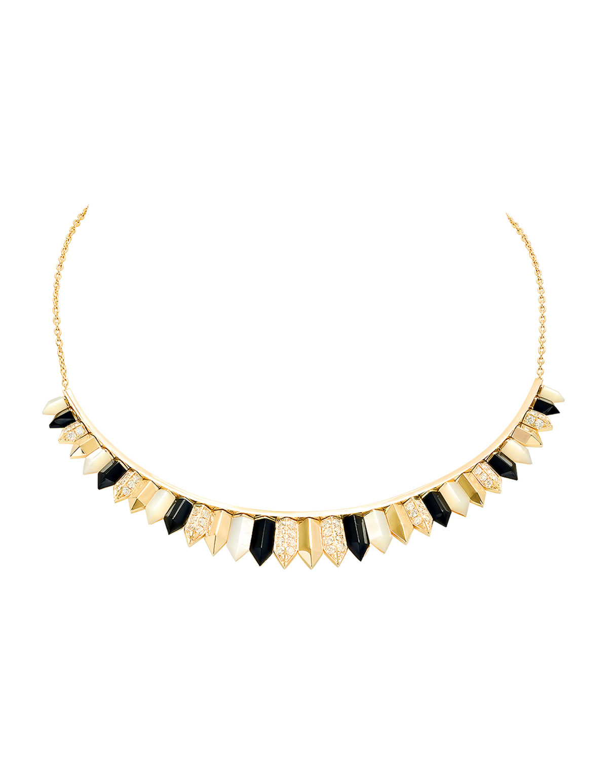 18K Yellow Gold Penacho Necklace in Mother-of-Pearl and Onyx