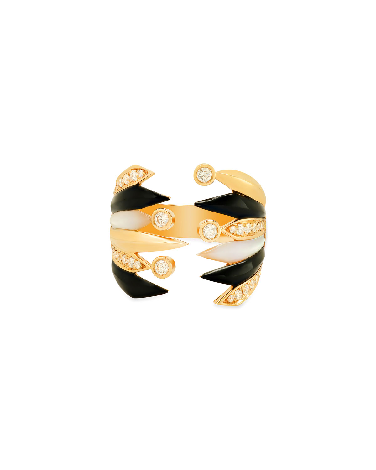 18K Penacho Large Ring in Onyx and Mother-of-Pearl