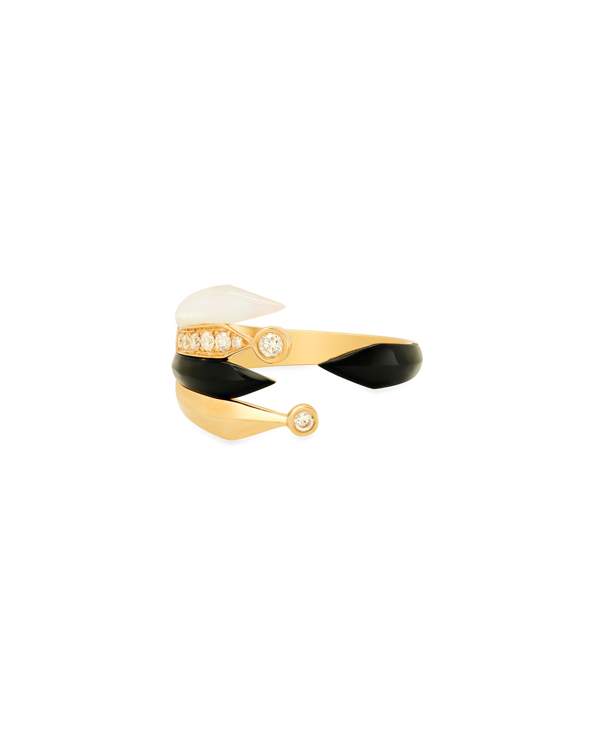 18K Penacho Ring in Onyx and Mother-of-Pearl