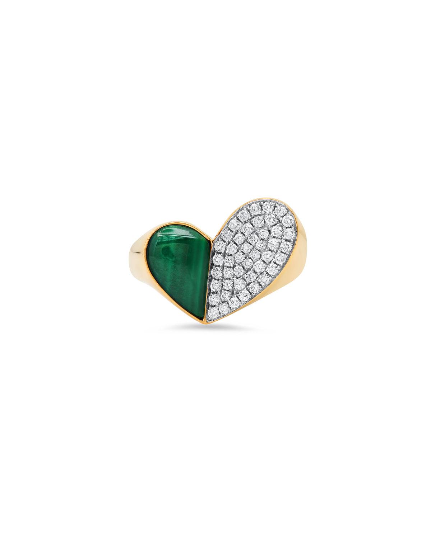 18K Yellow Gold Heart of Penacho Ring with Malachite