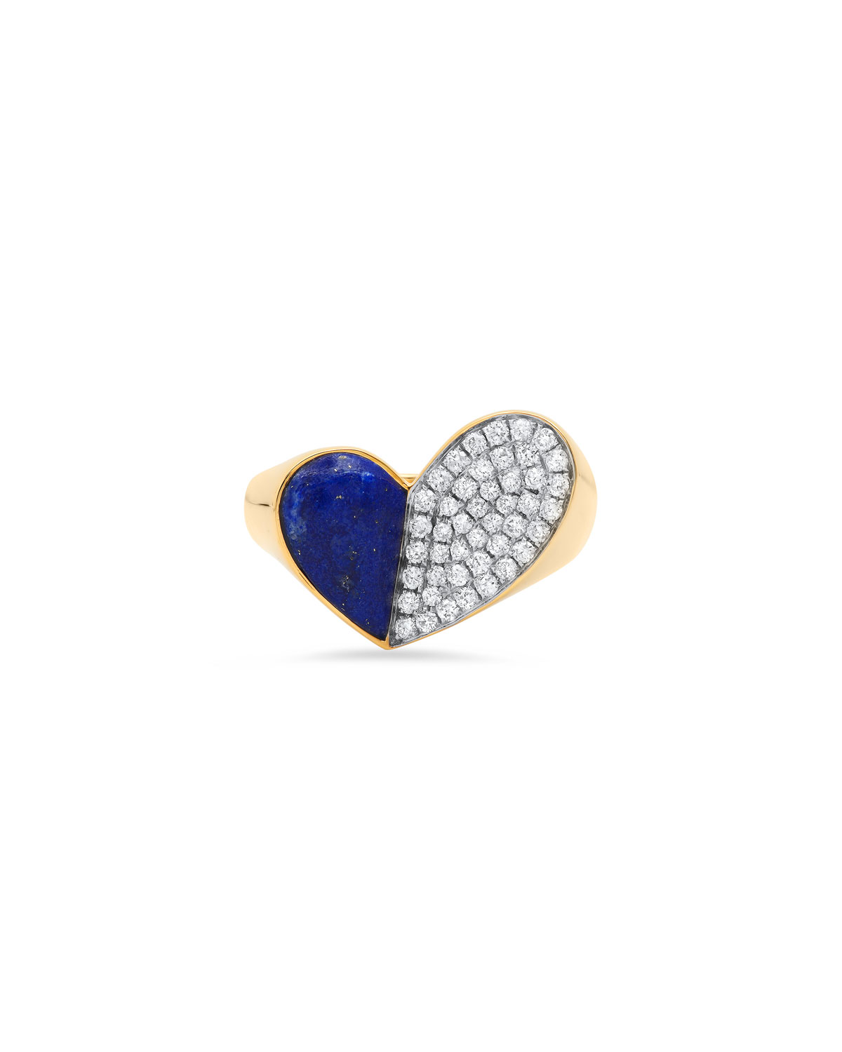 18K Yellow Gold Heart of Penacho Ring with Lapis