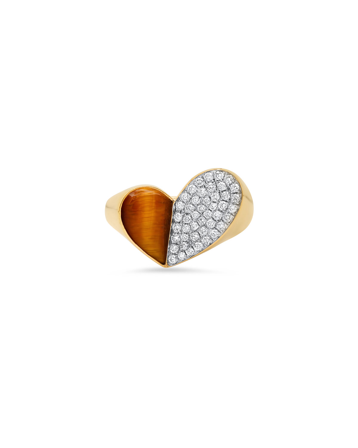 18K Yellow Gold Heart of Penacho Ring with Tiger Eye