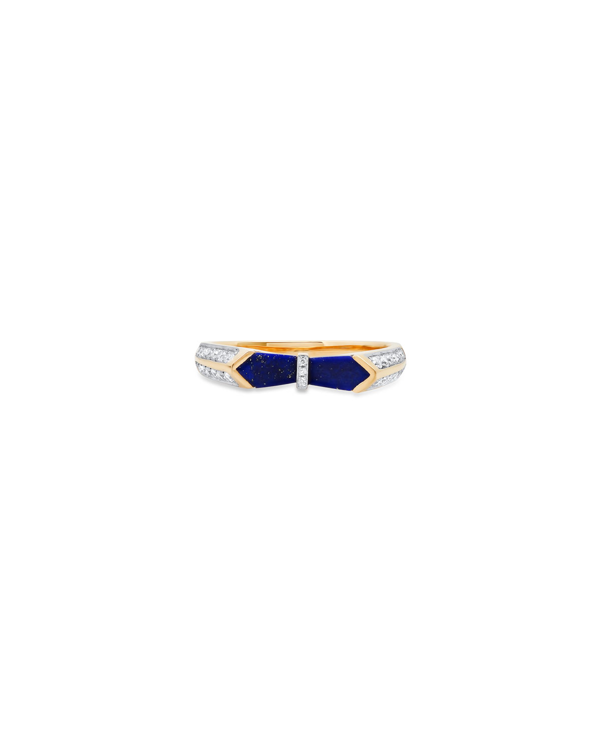 18k Yellow Gold Ring in Lapis and Diamonds