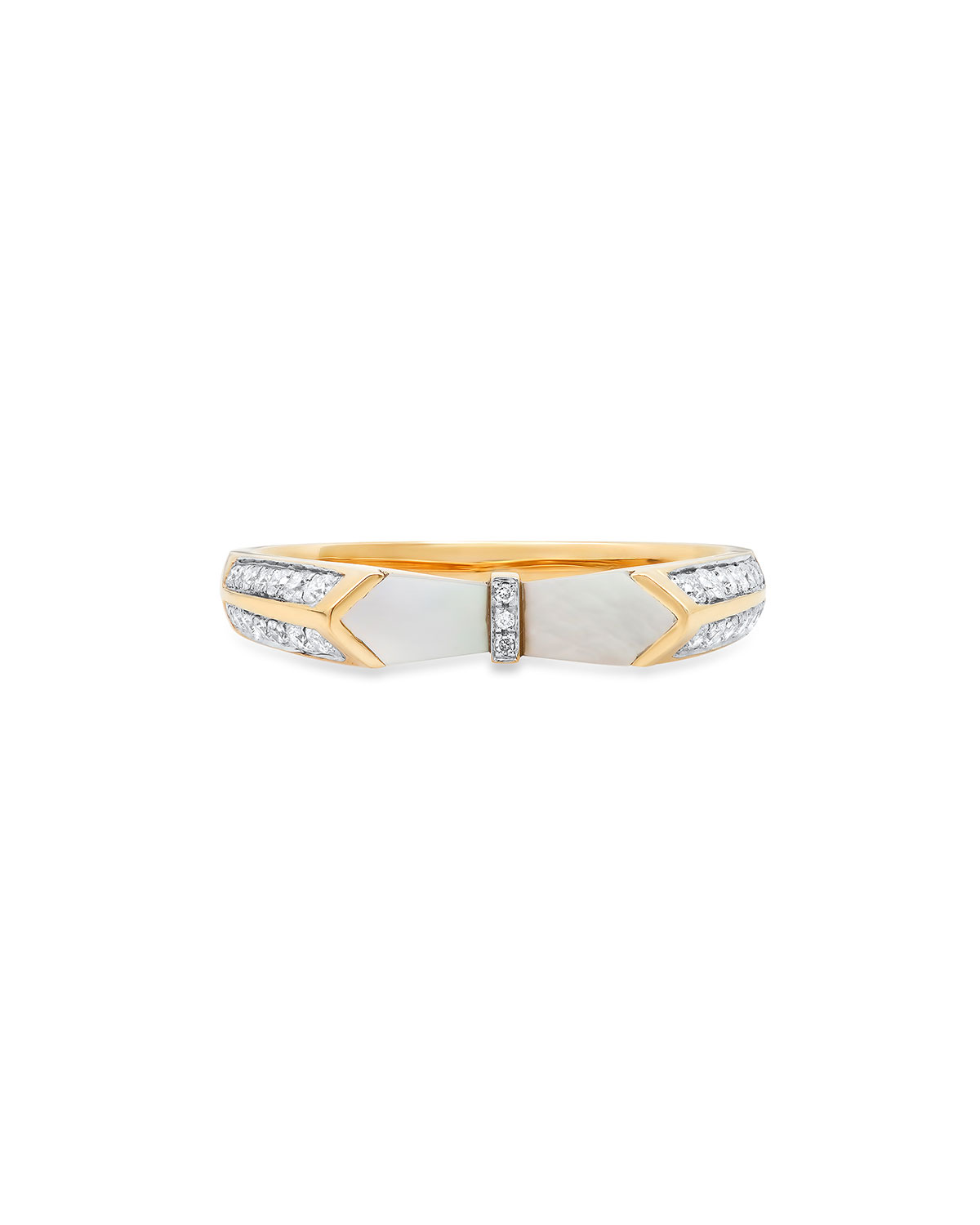 18k Yellow Gold Ring in Mother-of-Pearl and Diamonds