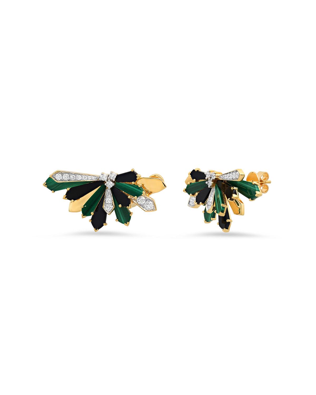 Mini Penacho Stud Earrings in Malachite and Onyx