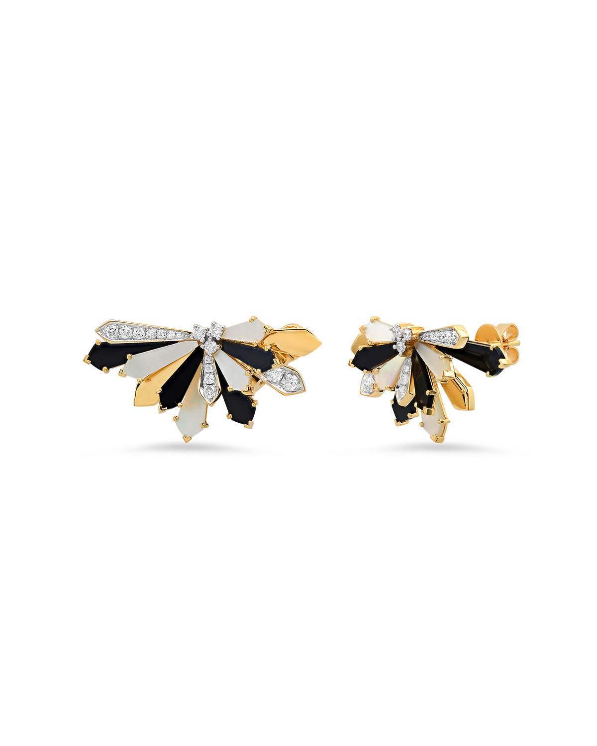 Mini Penacho Stud Earrings in Mother-of-Pearl and Onyx