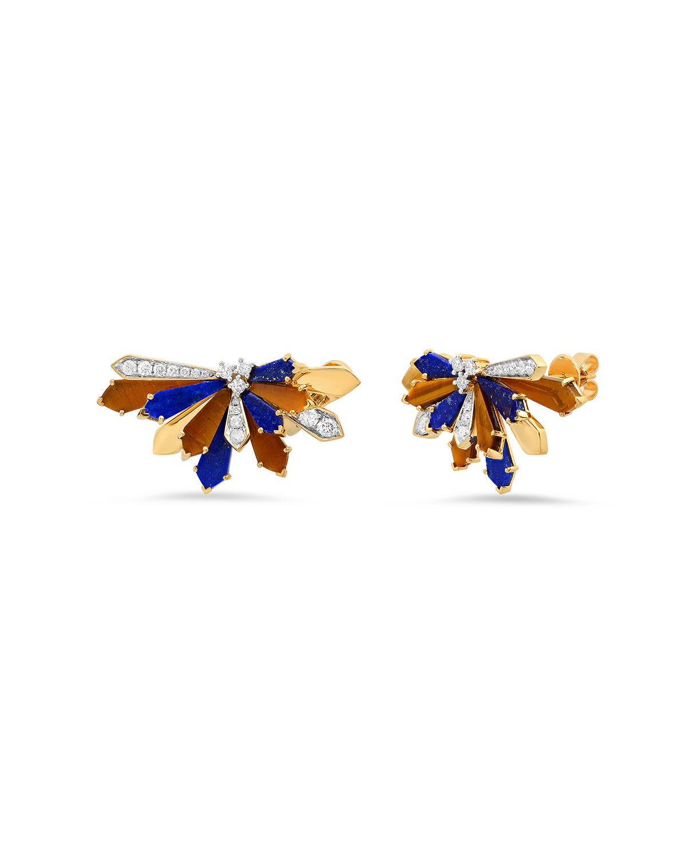 Penacho Tiger Eye Stud Earrings
