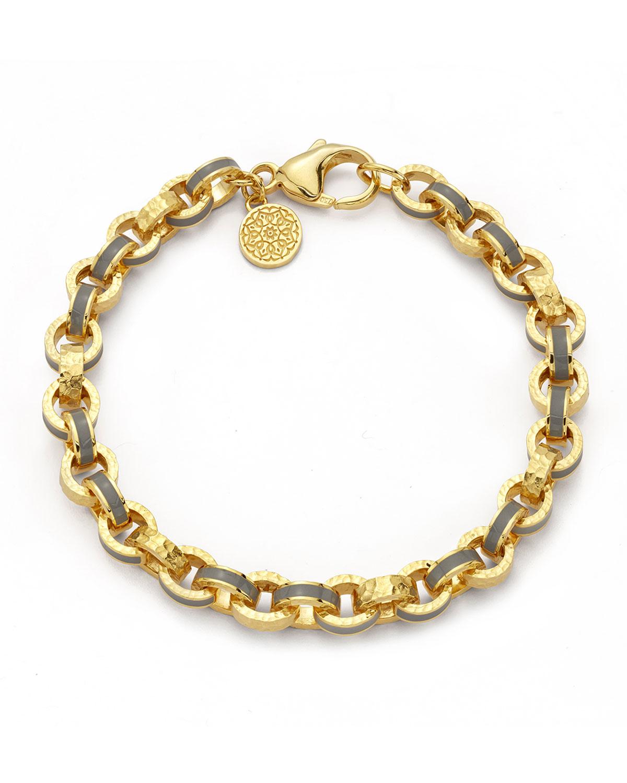 Gray Enamel 7mm Link Bracelet