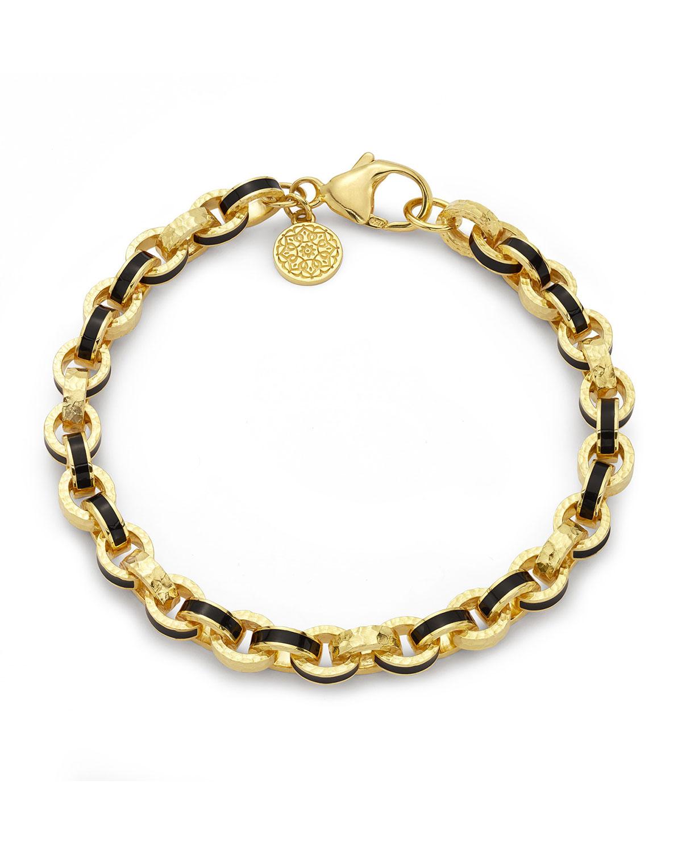 Black Enamel 7mm Link Bracelet