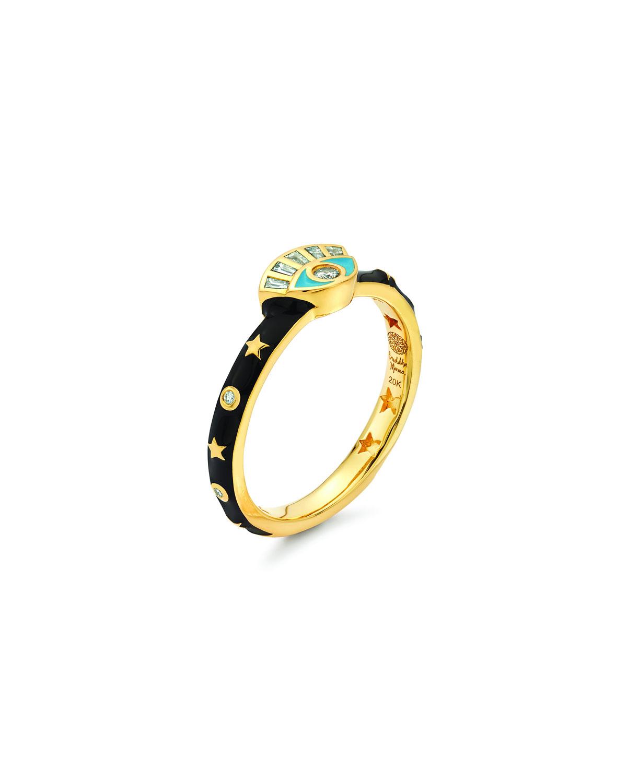 20k Black Enamel Evil Eye Ring