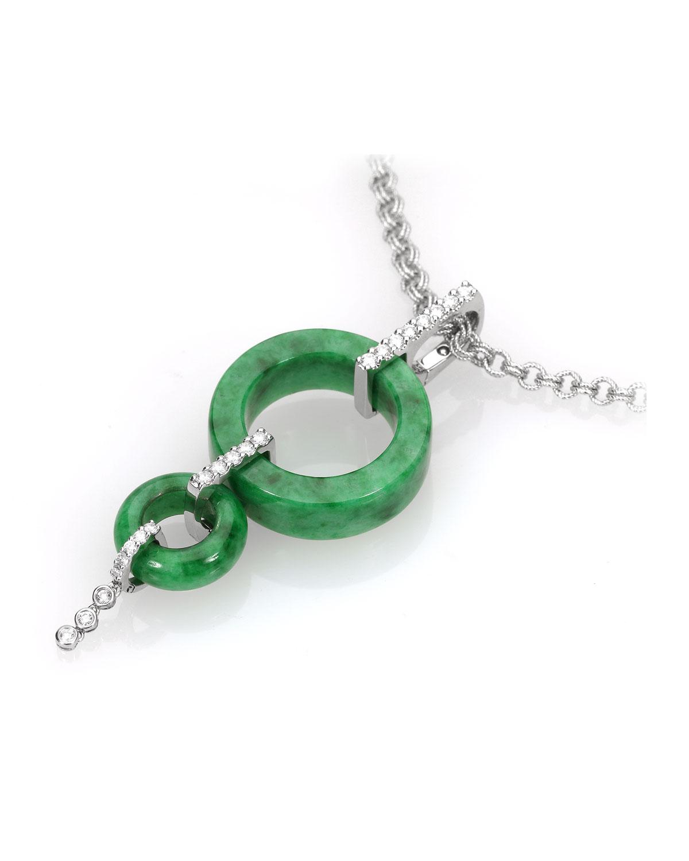 Green Jade 2-Circle Pendant with Diamonds