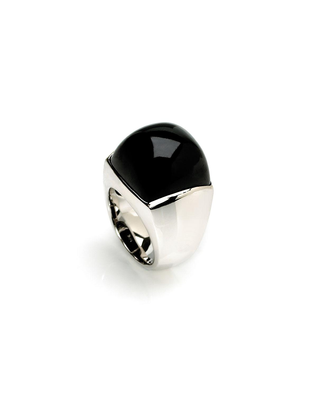 18K White Gold & Black Jade Dome Ring