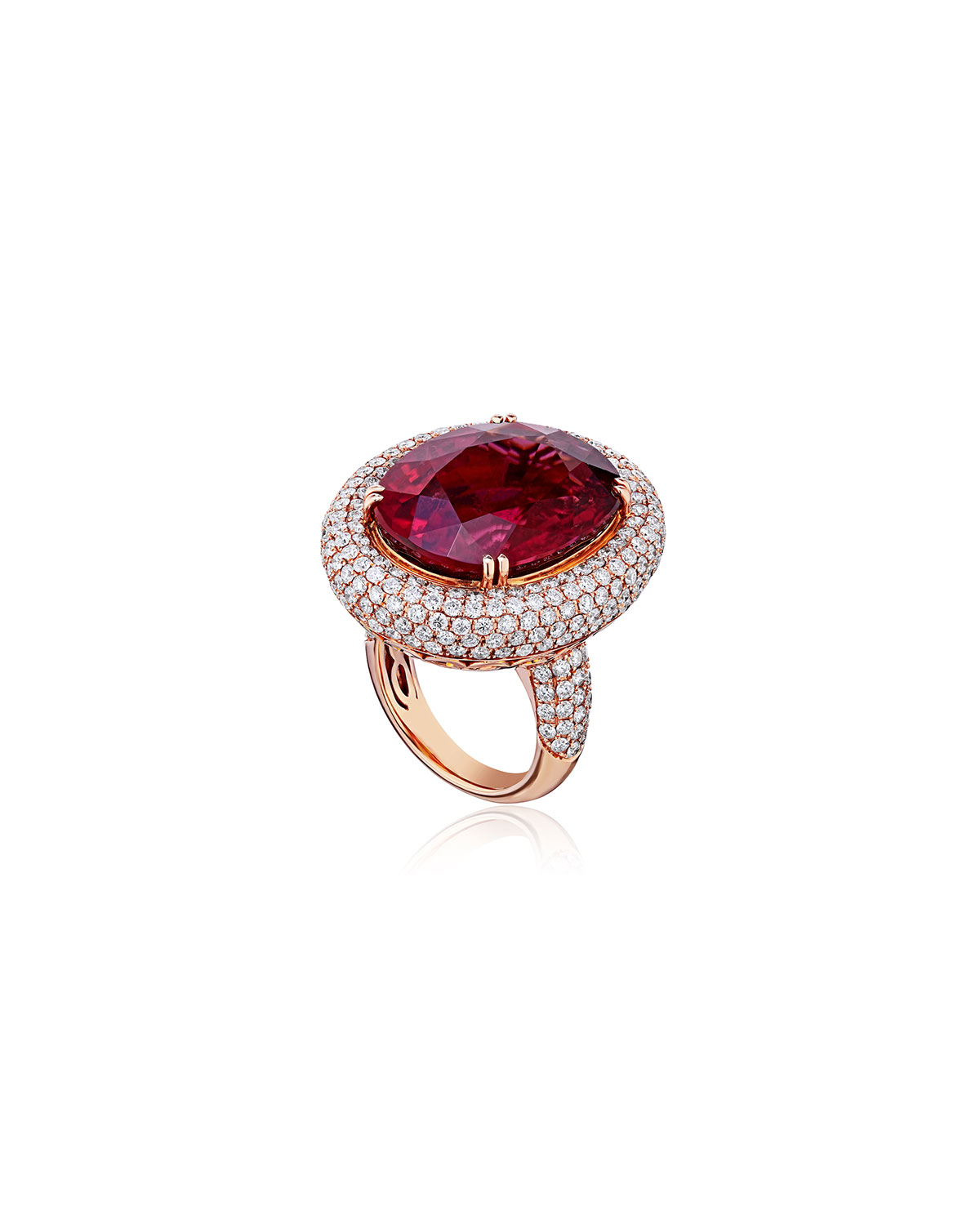 Rubellite Cocktail Ring with Diamonds