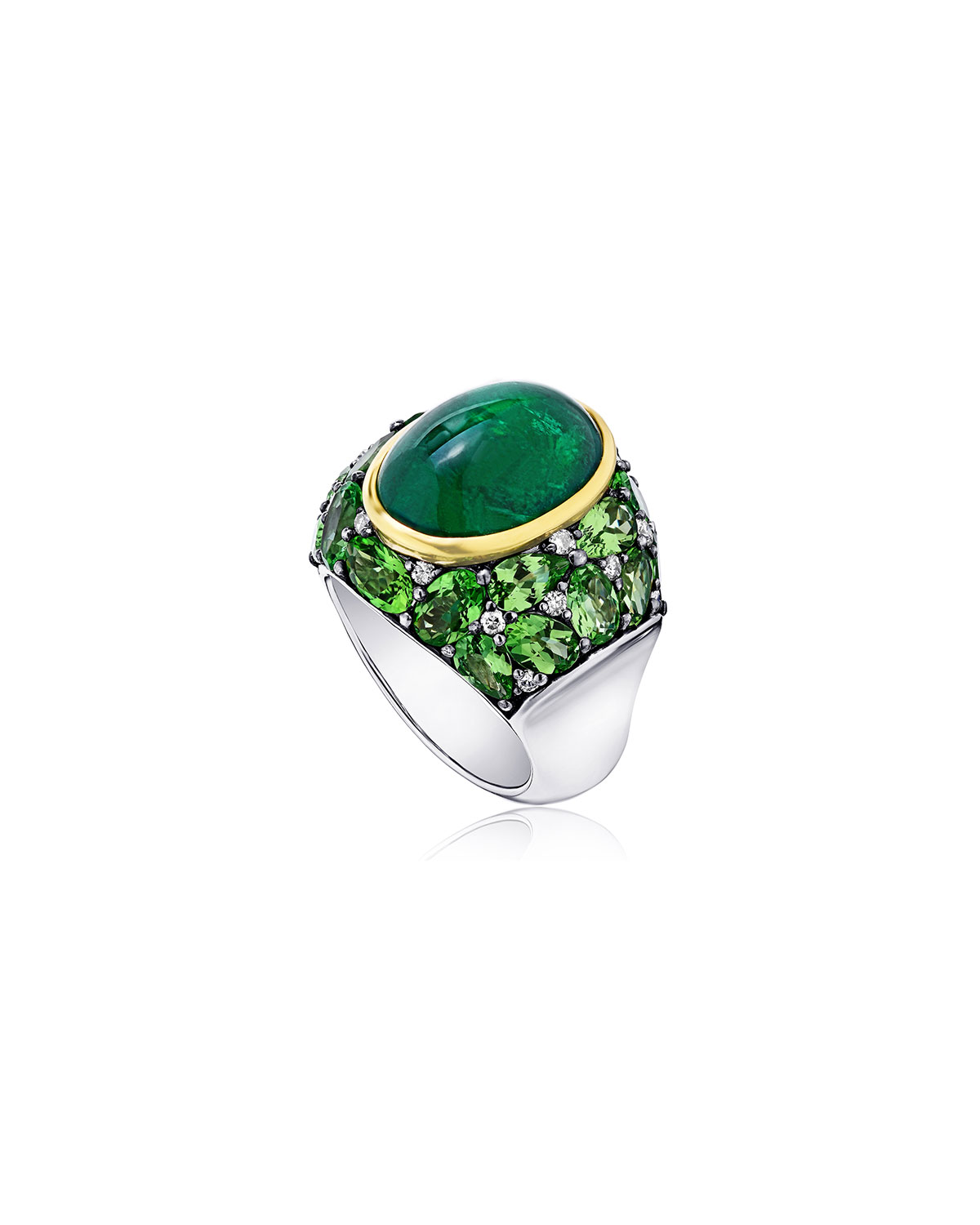 Emerald Oval Ring with Tsavorite and Diamonds