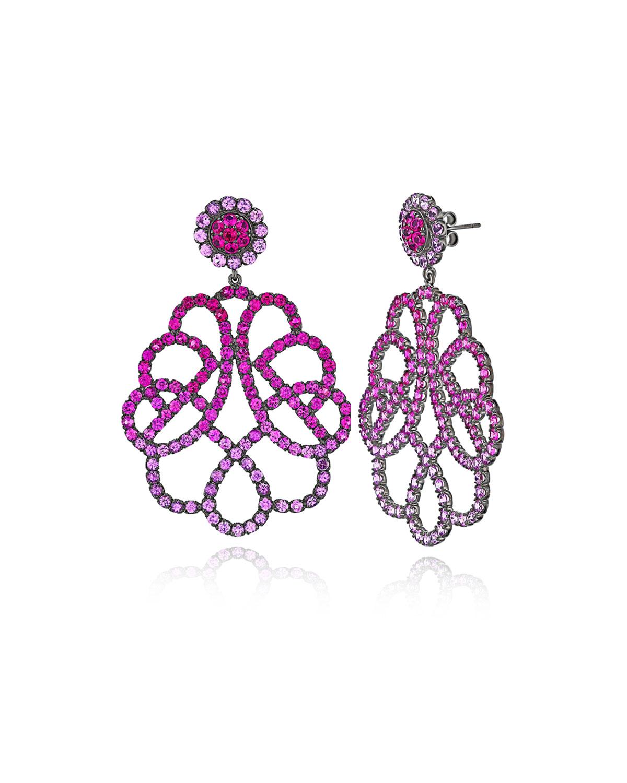 18k White Gold Pink Lattice Drop Earrings