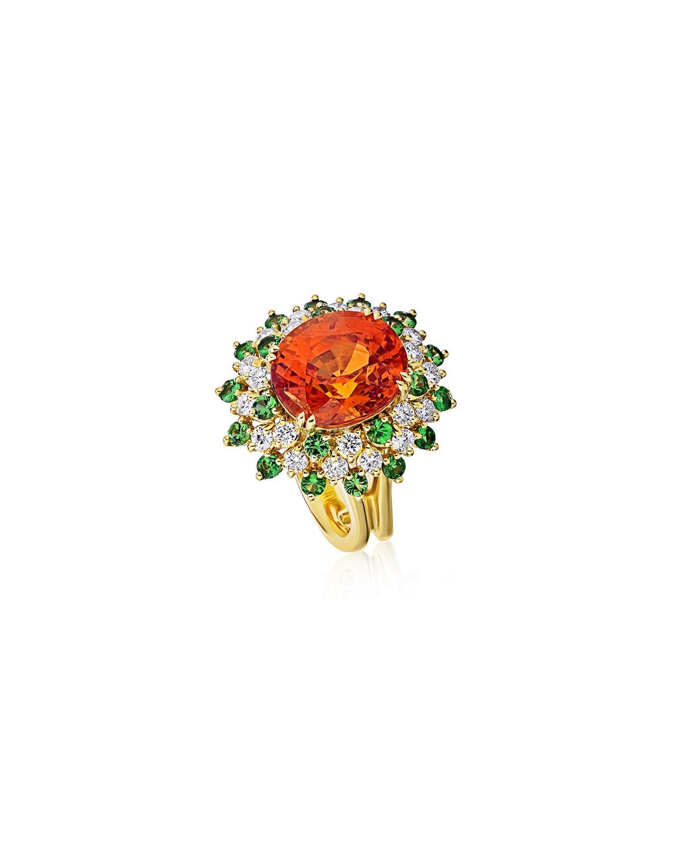 18k Spessatite Cocktail Ring with Diamonds and Tsavorite