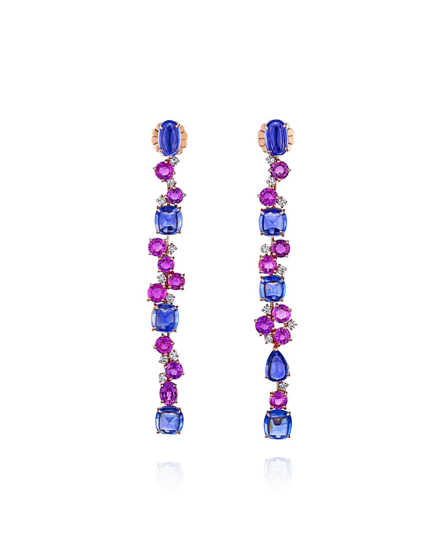 18k Rose Gold Sapphire and Diamond Dangle Earrings