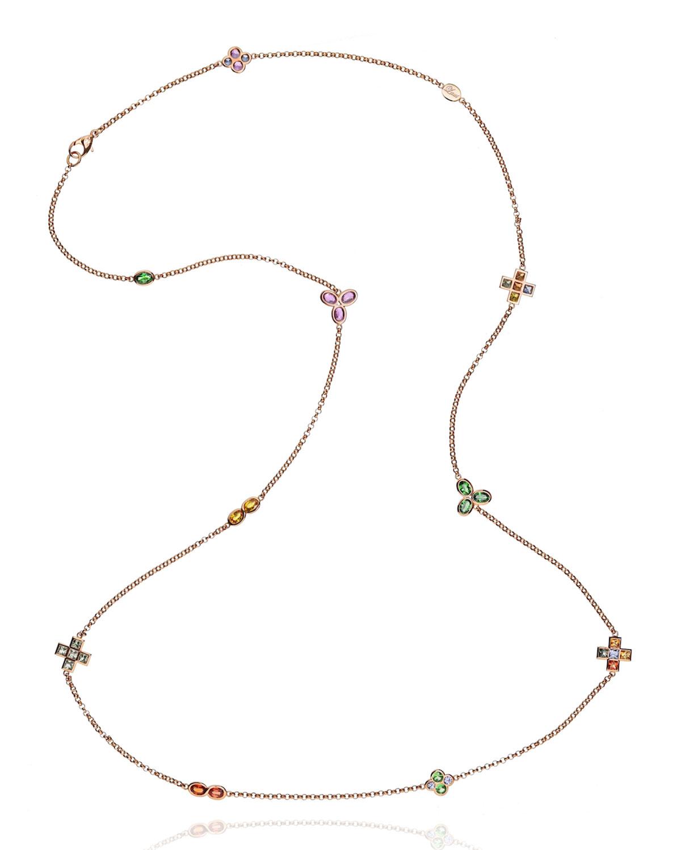"18k White Gold Diamond, Sapphire Mix and Tsavorite Necklace, 39""L"
